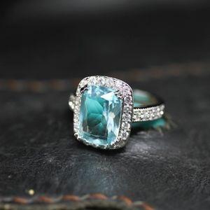 Jewelry - 14kt Gold Plated Caribbean Aqua Topaz Engagement